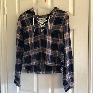 Tops - Cropped Plaid Shirt